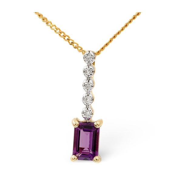 Amethyst 0.50CT And Diamond 9K Yellow Gold Pendant - image 1