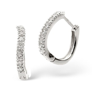 Hoop Earrings 0.11ct Diamond 9K White Gold