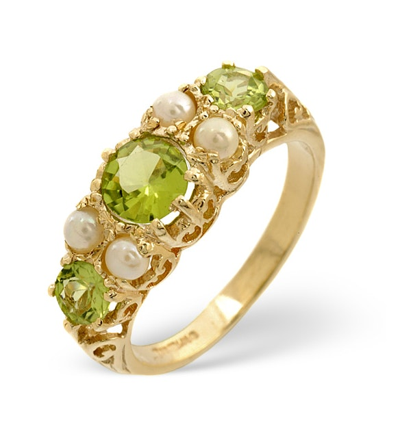 Peridot 1.3CT And Pearl 9K Yellow Gold Ring - image 1