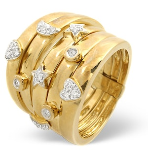 Big Fancy Ring 0.20CT Diamond 9K Yellow Gold - SIZE J.5 ONLY