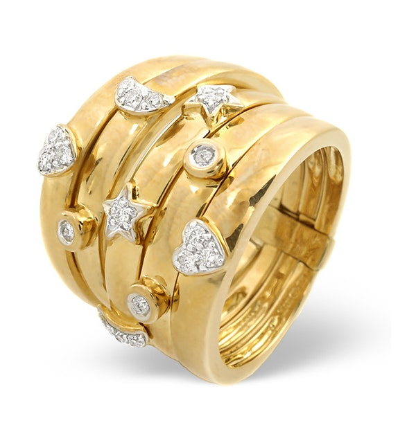 Big Fancy Ring 0.20CT Diamond 9K Yellow Gold - SIZE J.5 ONLY - image 1