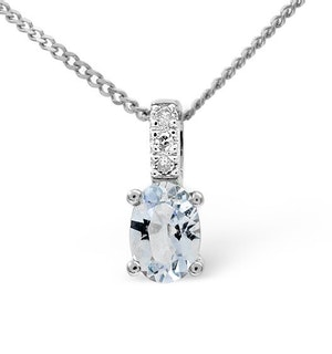 Aquamarine 0.34CT And Diamond 9K White Gold Pendant Necklace