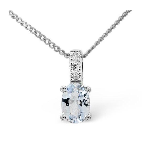 Aquamarine 0.34CT And Diamond 9K White Gold Pendant Necklace - image 1