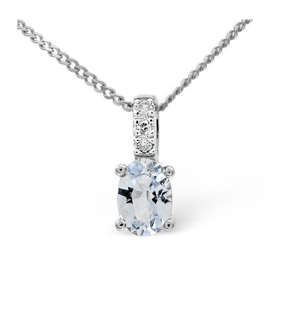 Aquamarine 0.34CT And Diamond 9K White Gold Pendant - image 1