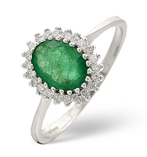 Emerald 8 x 6mm And Diamond 9K White Gold Ring