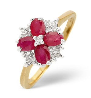 Ruby 4 x 3mm And Diamond 9K Gold Ring