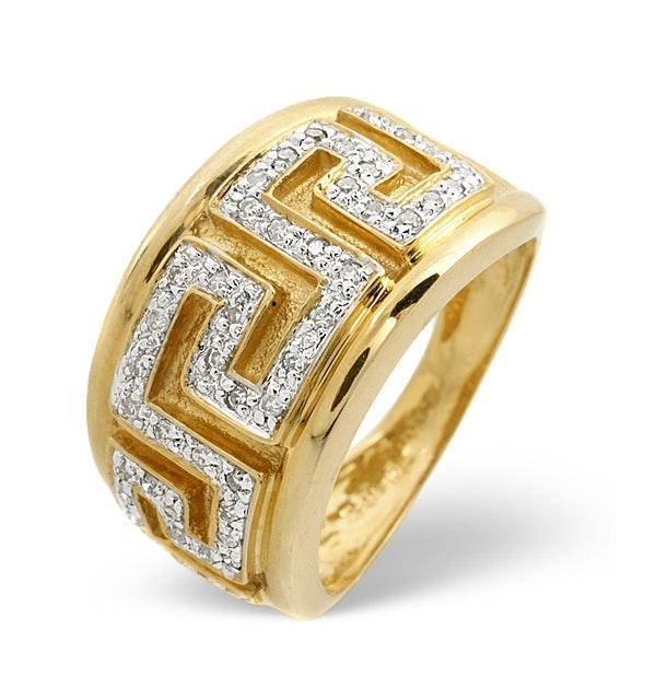 Diamond Greek Key Ring 0.20CT Diamond 9K Yellow Gold - image 1