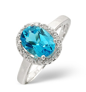 Blue Topaz 1.56CT And Diamond 9K White Gold Ring