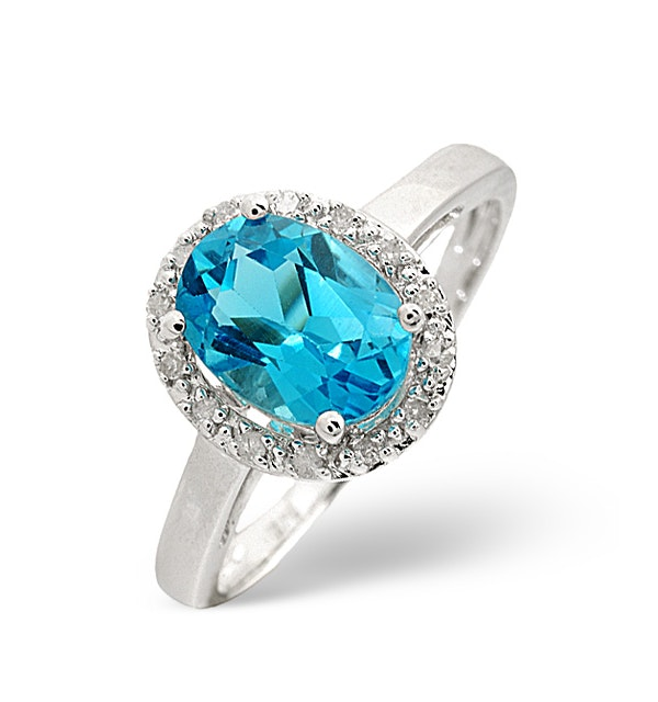 Blue Topaz 1.56CT And Diamond 9K White Gold Ring - image 1