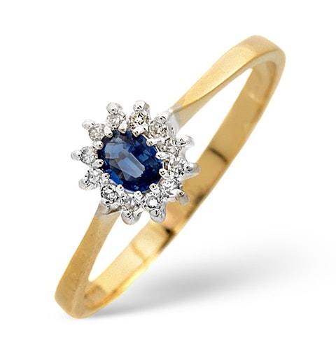 Sapphire 4 x 3 mm And Diamond 9K Gold Ring - image 1