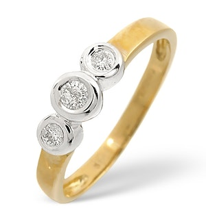 3 Stone Ring 0.16CT Diamond 9K Yellow Gold