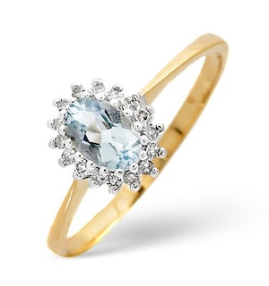 Aquamarine 6 x 4mm And Diamond 9K Yellow Gold Ring