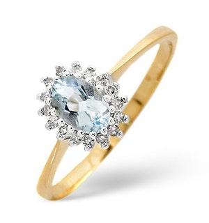 Aquamarine 6 x 4mm And Diamond 9K Yellow Gold Ring