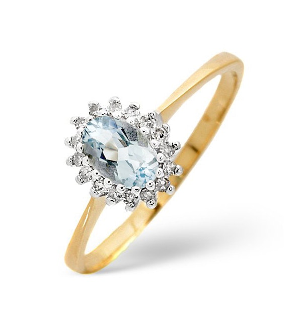 Aquamarine 6 x 4mm And Diamond 9K Yellow Gold Ring - image 1
