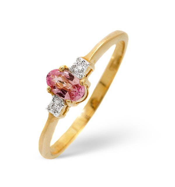0.28CT Pink Sapphire And Diamond Ring 9K Yellow Gold - image 1