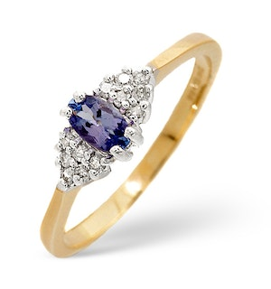 Tanzanite 5 x 3mm And Diamond 9K Gold Ring  A4324