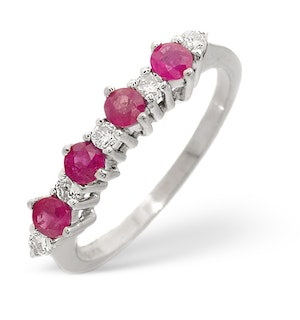 Ruby 0.50ct And Diamond 9K White Gold Ring