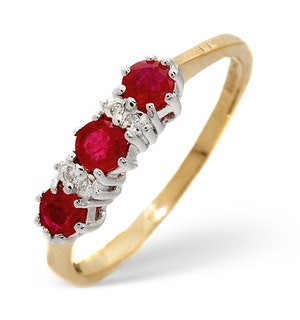 Ruby 0.58ct And Diamond 9K Gold Ring  A3399