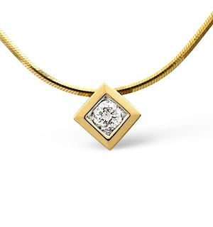 Solitaire Necklace 0.16CT Diamond 9K Yellow Gold