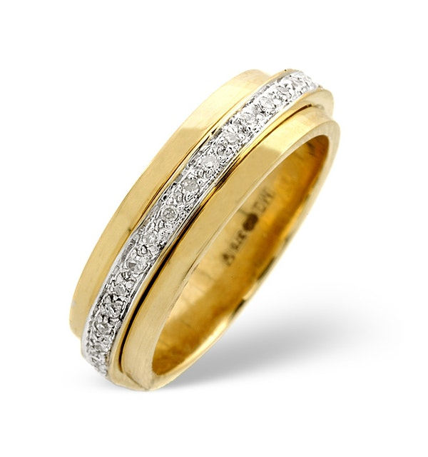 Spinners Ring 0.25CT Diamond 9K Yellow Gold - image 1