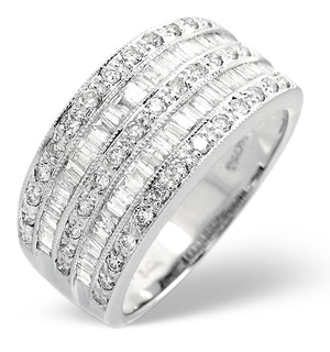 Platinum Wide Ring 1 Carat Diamond H/Si