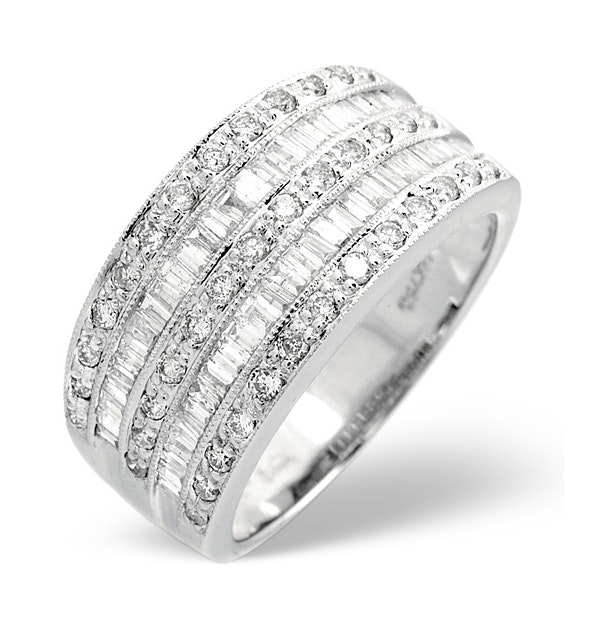 Platinum Wide Ring 1 Carat Diamond H/Si - image 1
