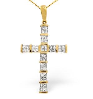 9K Gold Baguette Diamond Cross Pendant 1.00CT
