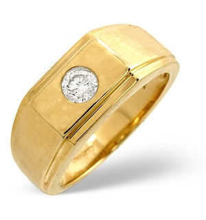 18K Gold Mens Ring 0.20CT Diamond Yellow Gold