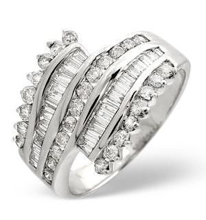 Big Fancy Ring 1.00CT Diamond 9K White Gold