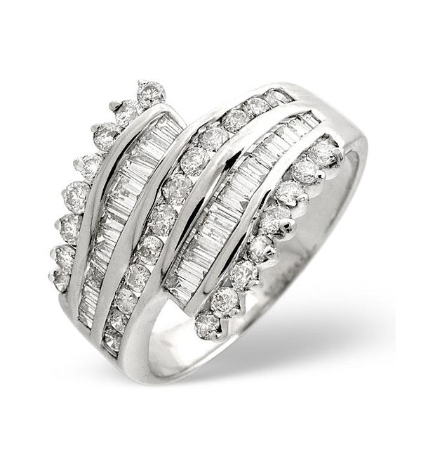 Big Fancy Ring 1.00CT Diamond 9K White Gold - image 1