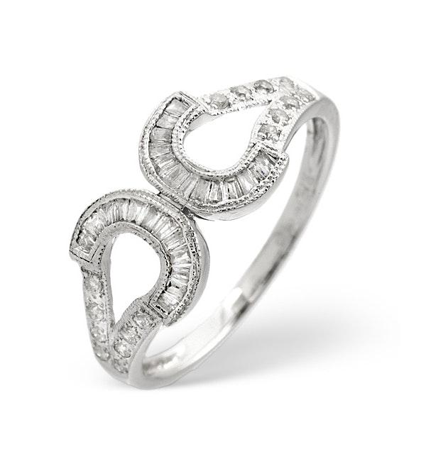 Horseshoe Ring 0.33CT Diamond 9K White Gold - image 1