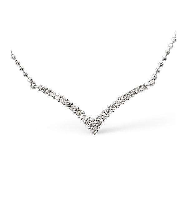 Wishbone Necklace 0.50CT Diamond 9K White Gold - image 1