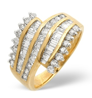 Big Fancy Ring 1.00CT Diamond 9K Yellow Gold