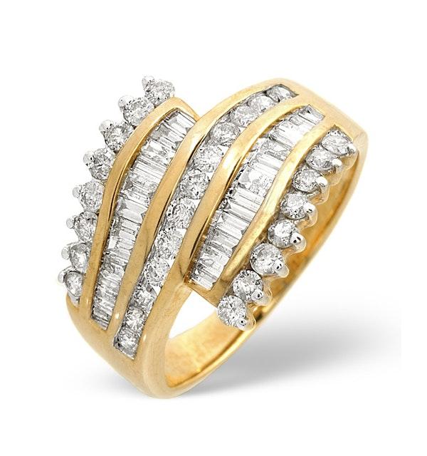 Big Fancy Ring 1.00CT Diamond 9K Yellow Gold - image 1
