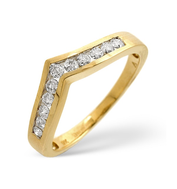 Diamond 0.27ct 9K Yellow Gold Wishbone Ring - image 1