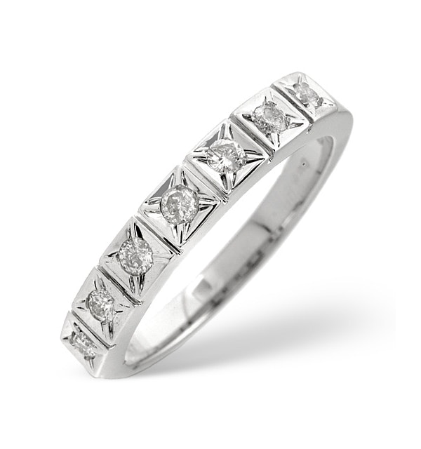 0.25CT Half Eternity Ring Diamond 9K White Gold - image 1