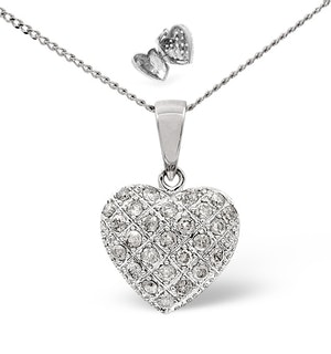 Heart Pendant 0.47ct Diamond 9K White Gold