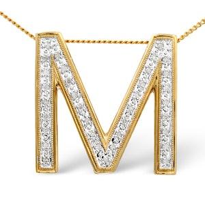 9K Gold Diamond Set Large M Initial 0.20CT
