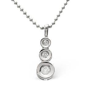 Trilogy Necklace 0.13CT Diamond 9K White Gold