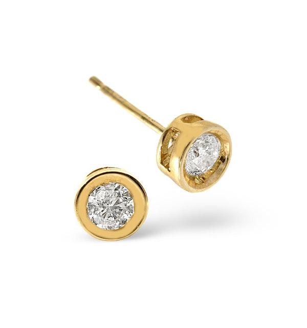 Stud Earrings 0.20CT Diamond 9K Yellow Gold - image 1