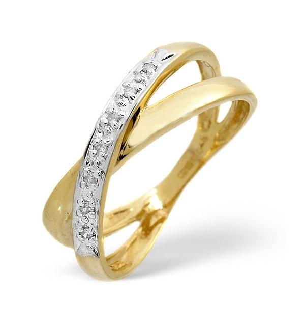 Diamond 0.05CT 9K Yellow Gold Cross-Over Ring - image 1