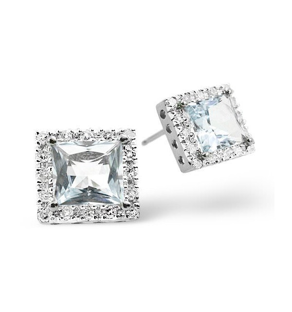 Aquamarine 1.90CT And Diamond 9K White Gold Earrings - image 1