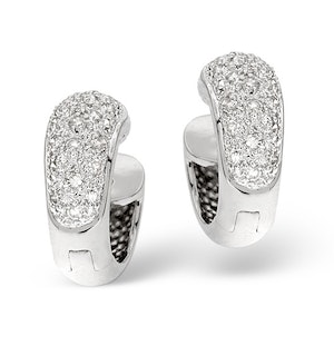 Huggy Earrings 0.28CT Diamond 9K White Gold