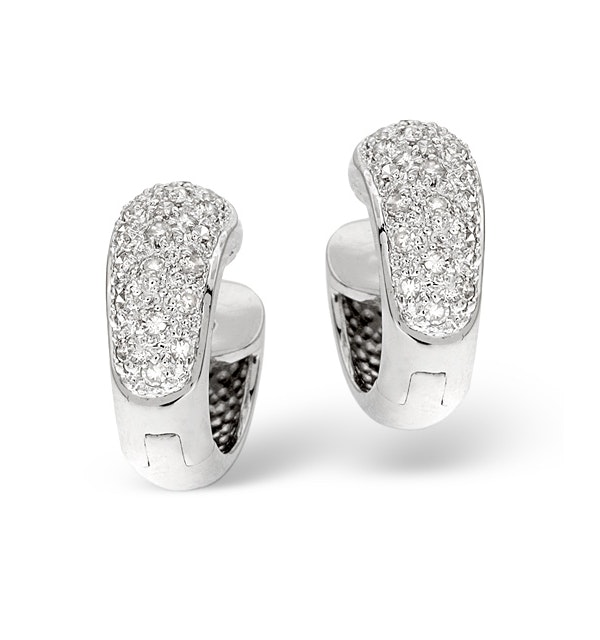 Huggy Earrings 0.28CT Diamond 9K White Gold - image 1