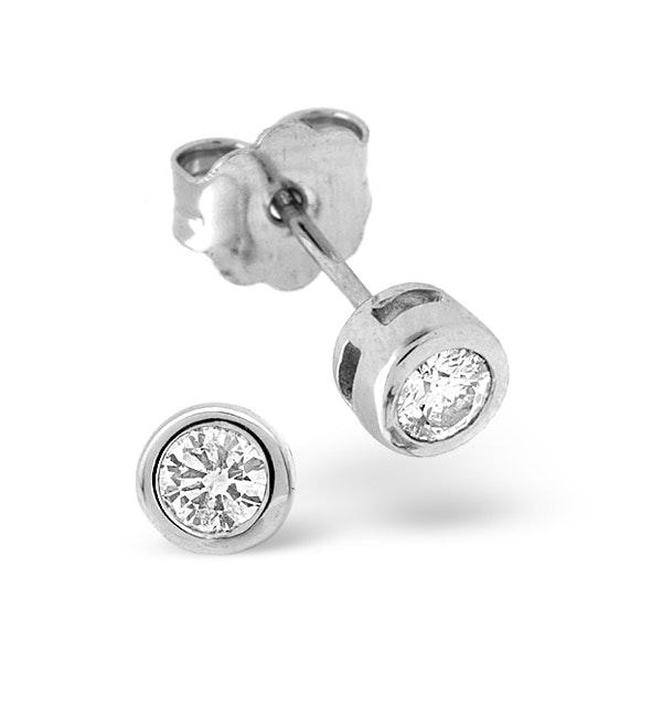 Stud Earrings 0.20CT Diamond 9K White Gold - image 1