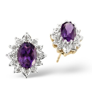 Amethyst 6 x 4mm And Diamond Cluster 9K Yellow Gold Earrings
