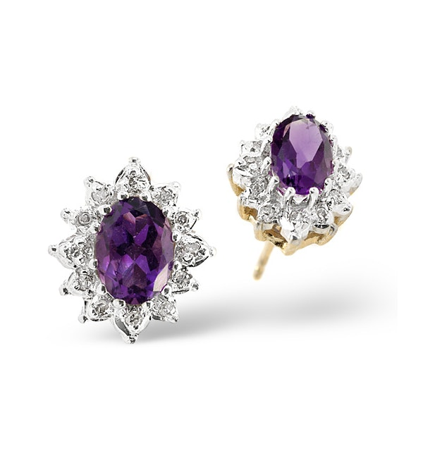 Amethyst 6 x 4mm And Diamond 9K Yellow Gold Earrings - image 1