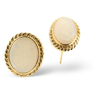 Opal 9 x 7mm 9K Yellow Gold Earrings