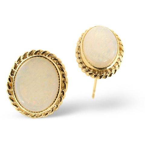 Opal 9 x 7mm 9K Yellow Gold Earrings - image 1