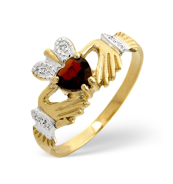 Garnet And Diamond Claddagh 9K Yellow Gold Ring - image 1